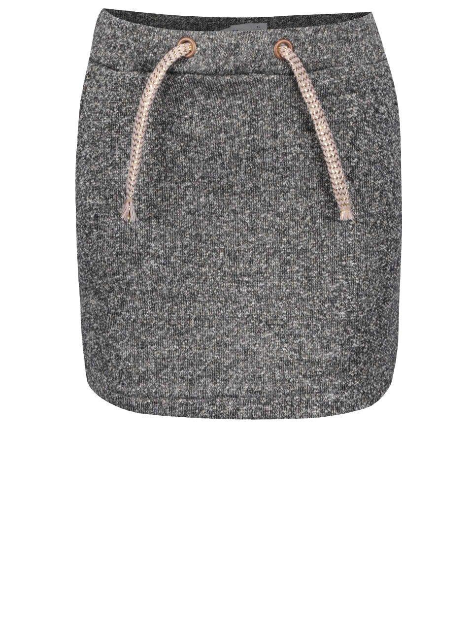 Tmavě šedá žíhaná holčičí sukně s detaily ve zlaté barvě Name it Nitlina