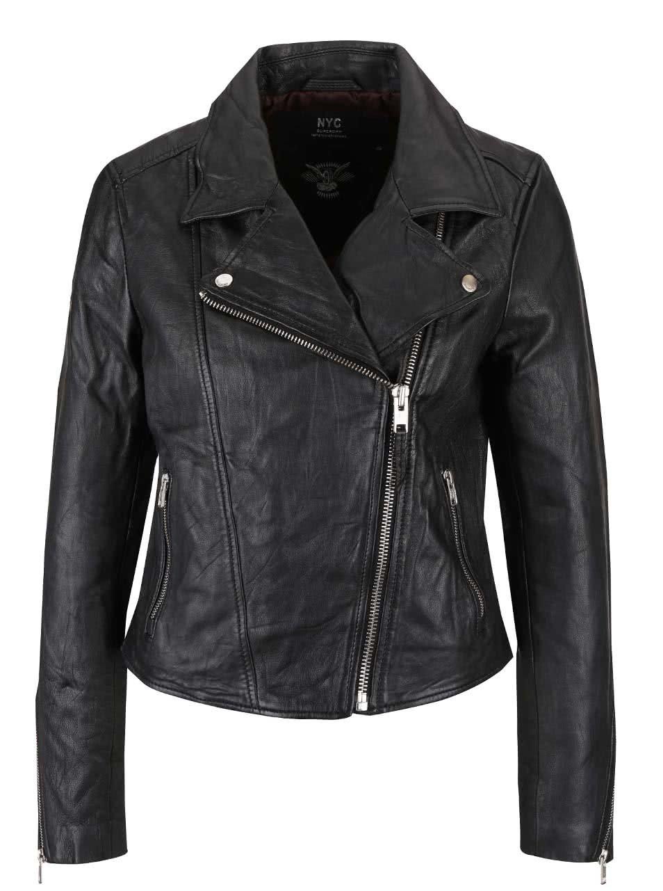 Černá dámská kožená bunda Superdry