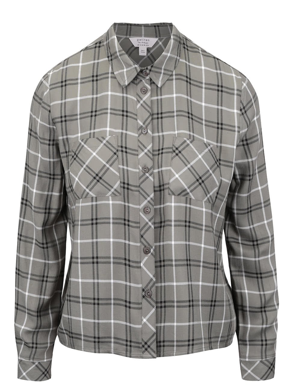 Khaki kostkovaná košile Miss Selfridge
