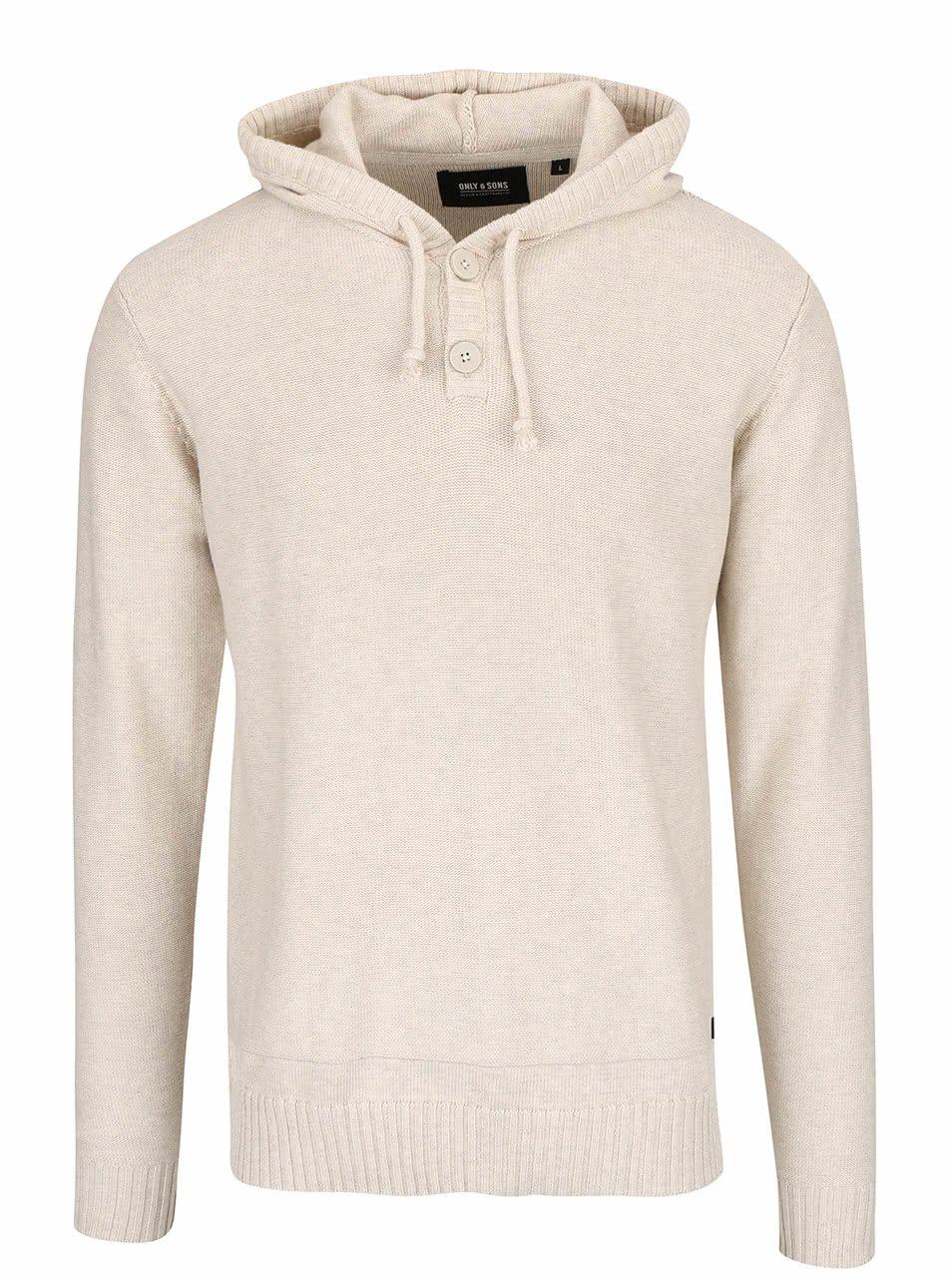 Béžový svetr s kapucí ONLY & SONS Daniel