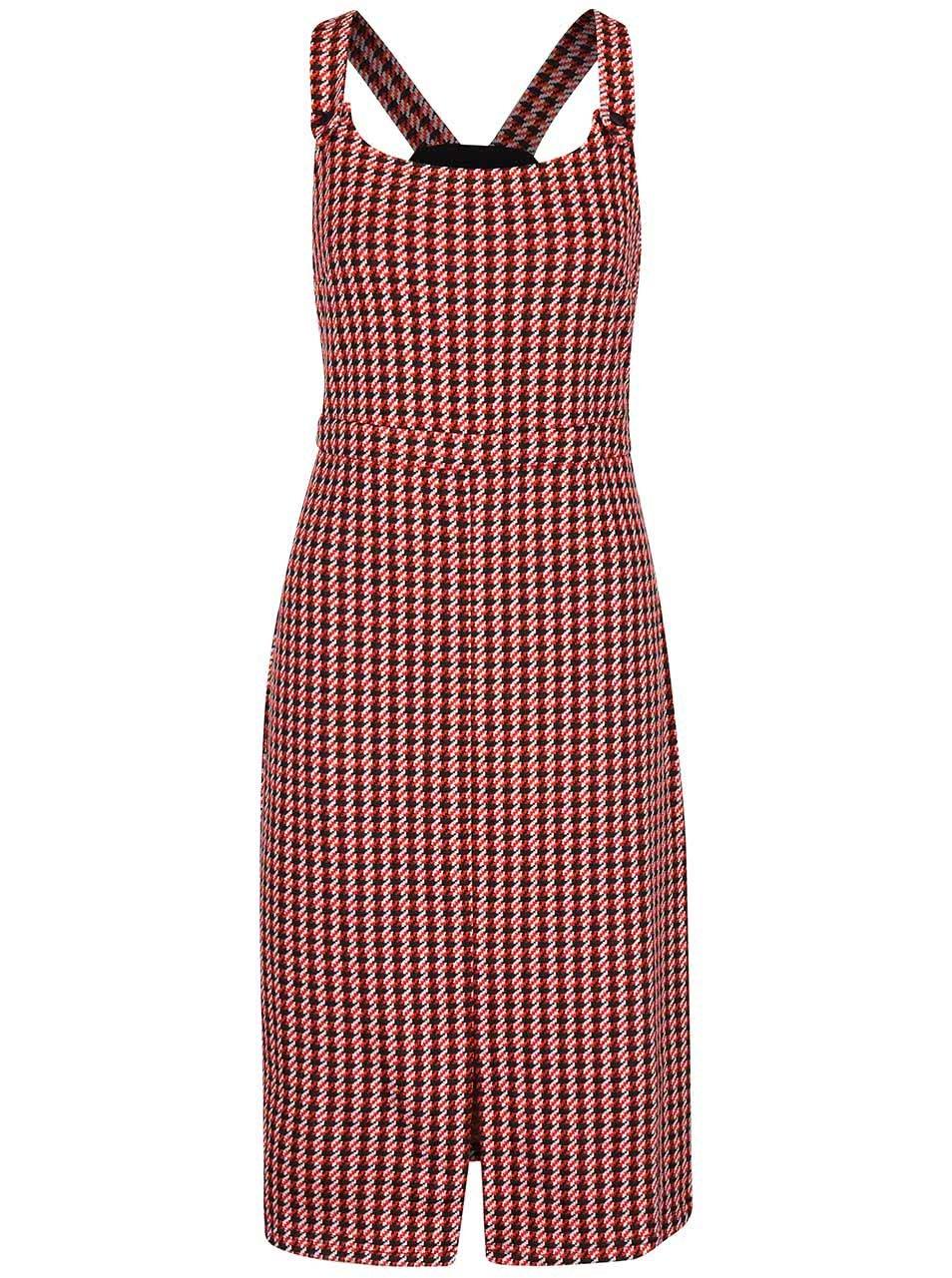 Černo-červené šaty se vzorem kohoutí stopy Dorothy Perkins