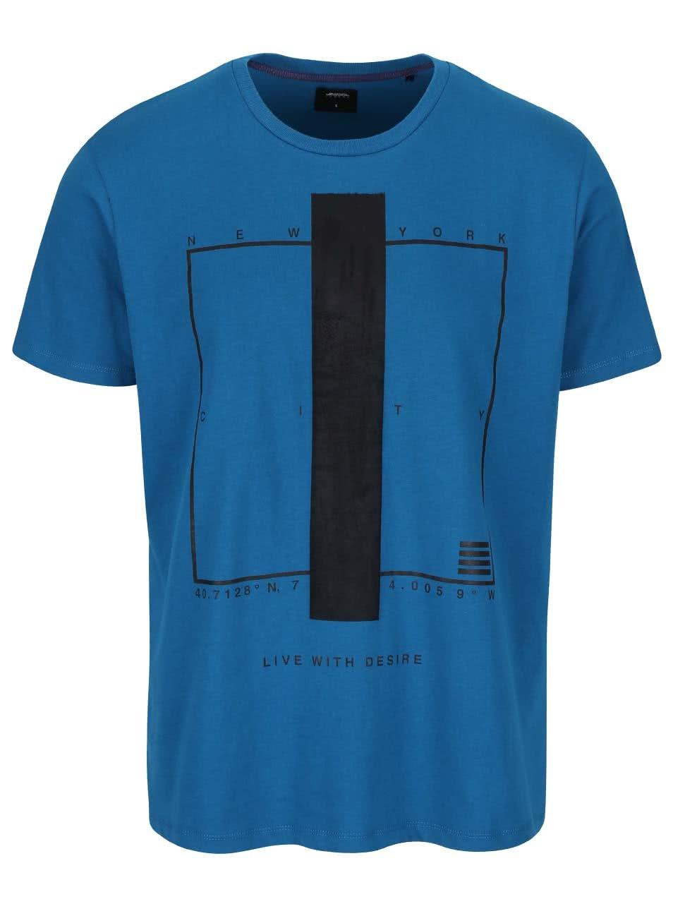 Tyrkysové triko s potiskem Burton Menswear London