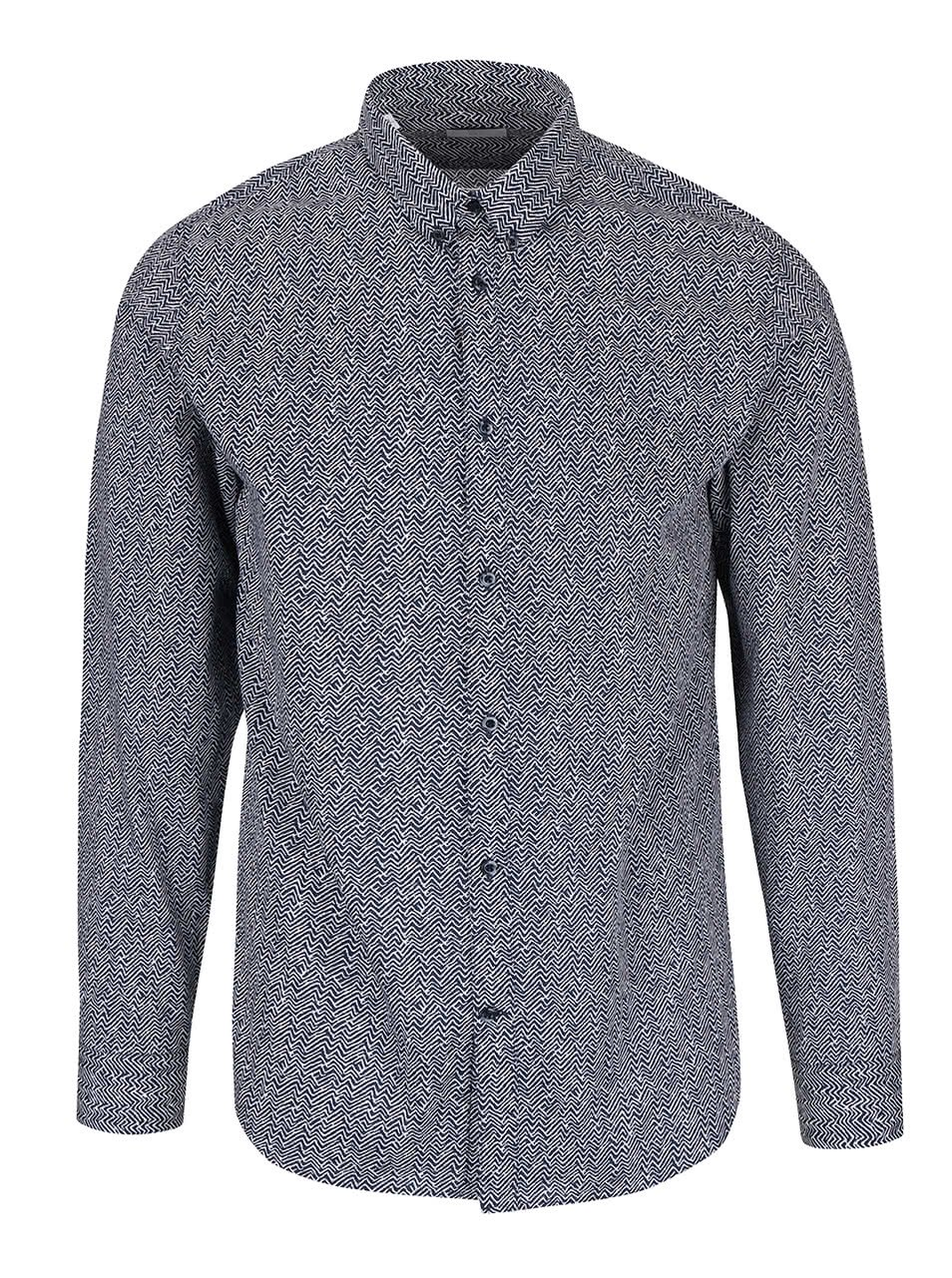 Tmavě modrá vzorovaná slim fit košile Selected Homme One Wave