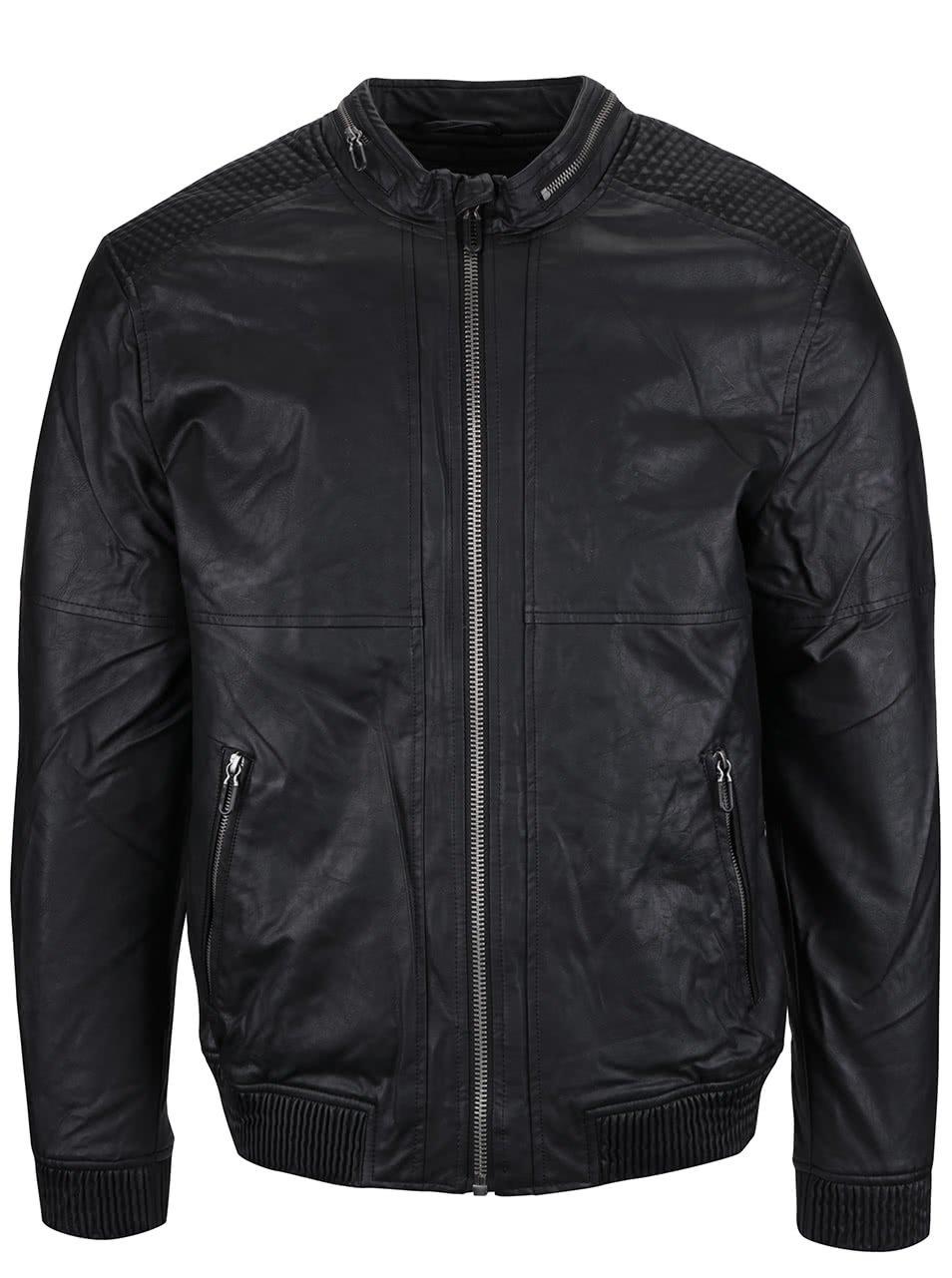 Černá koženková bunda s kapsami ONLY & SONS Leo