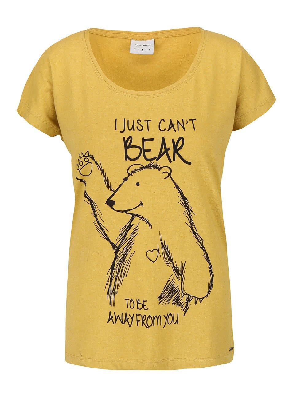 Hořčicové tričko s potiskem Vero Moda Bella