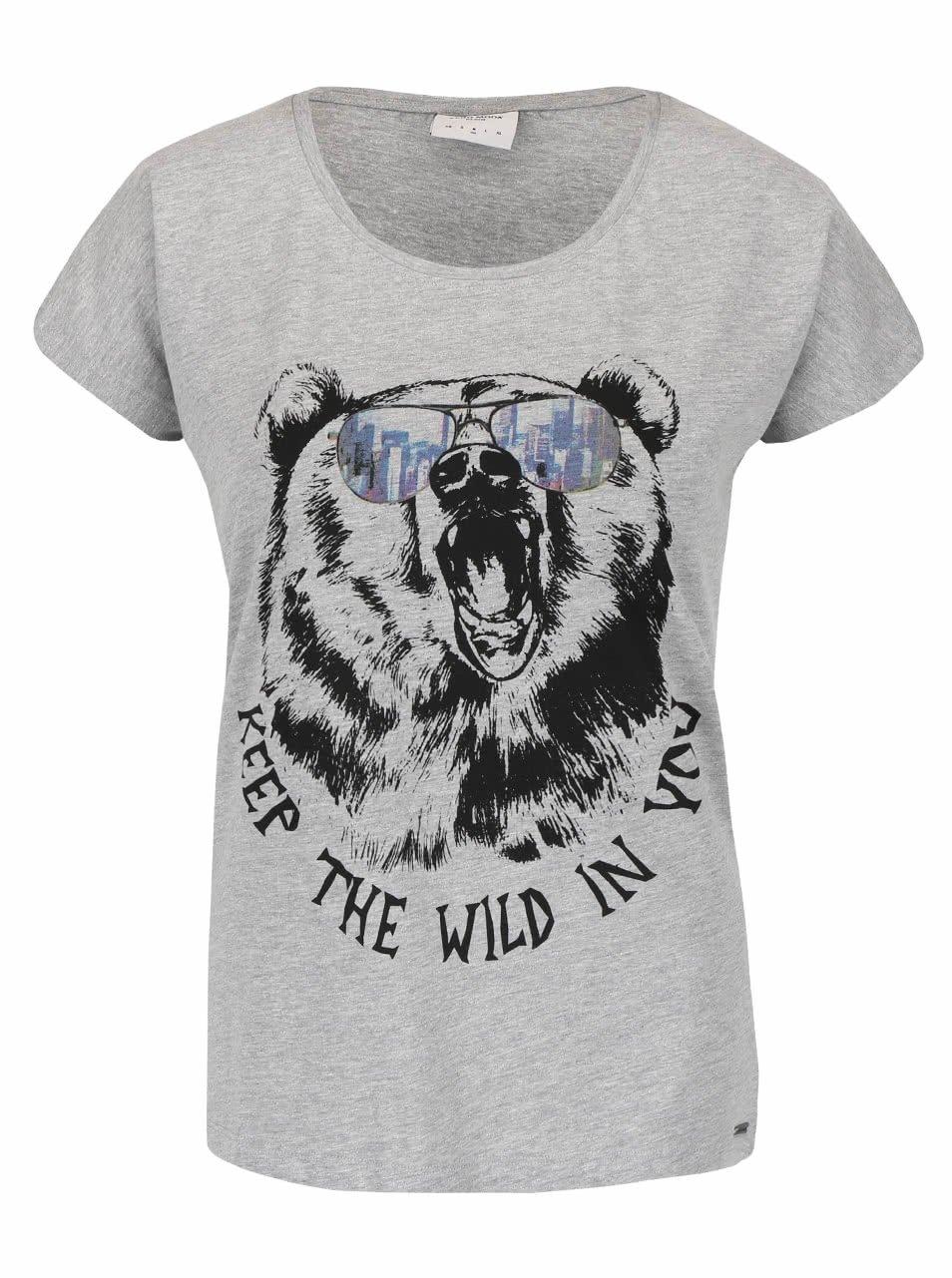 Šedé žíhané tričko s potiskem Vero Moda Bella