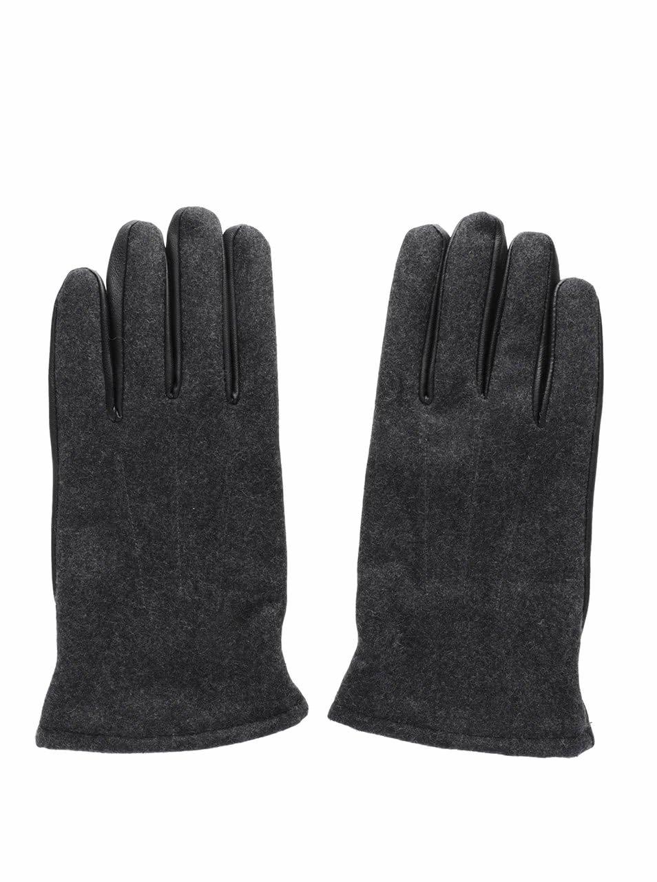 Černé kožené rukavice Selected Homme