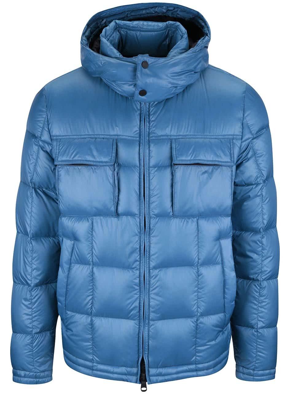 Modrá pánska prošívaná lesklá bunda s kapucí Geox Down