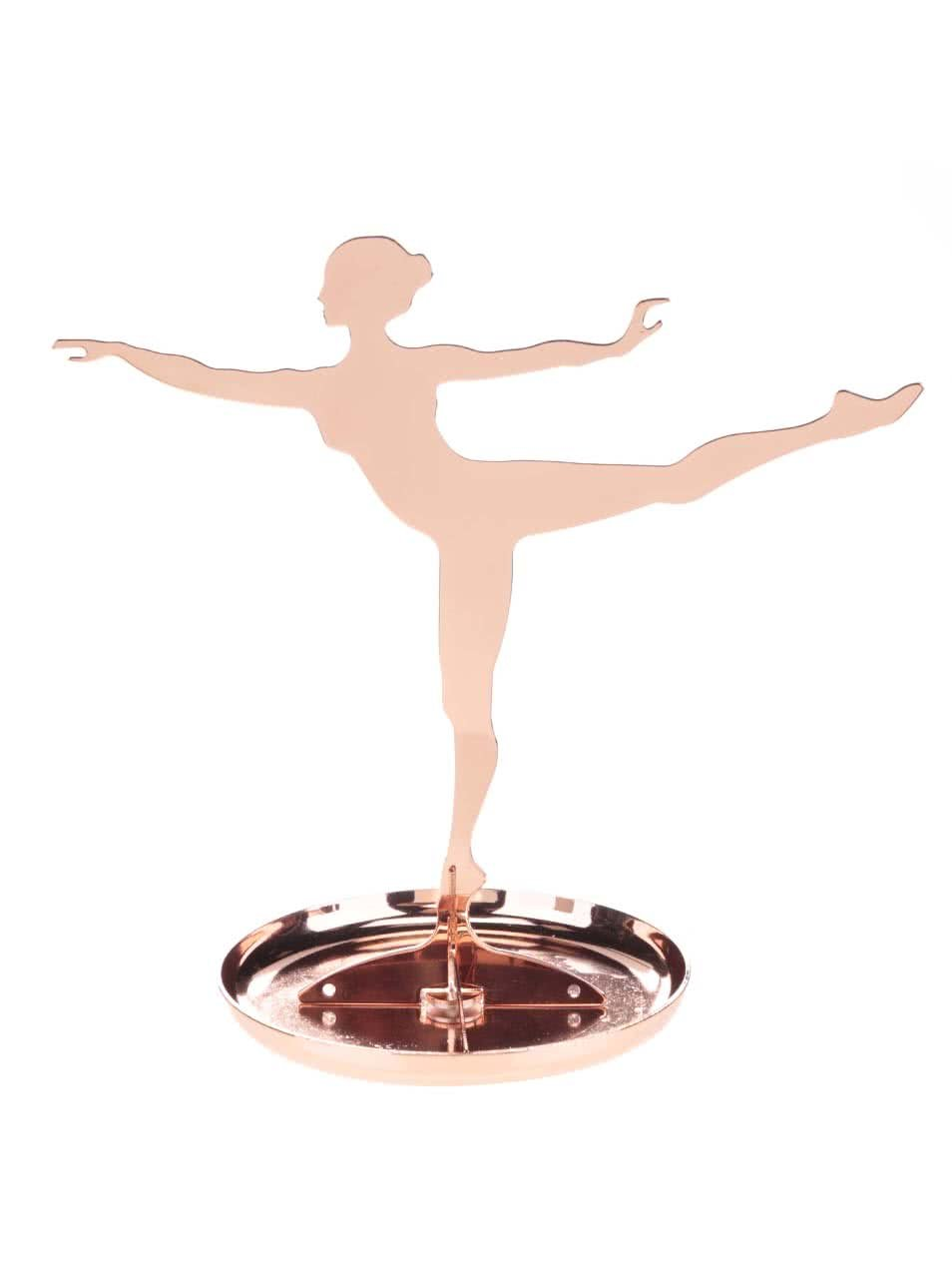 Stojan na šperky ve tvaru baletky v bronzové barvě Kikkerland Ballerina