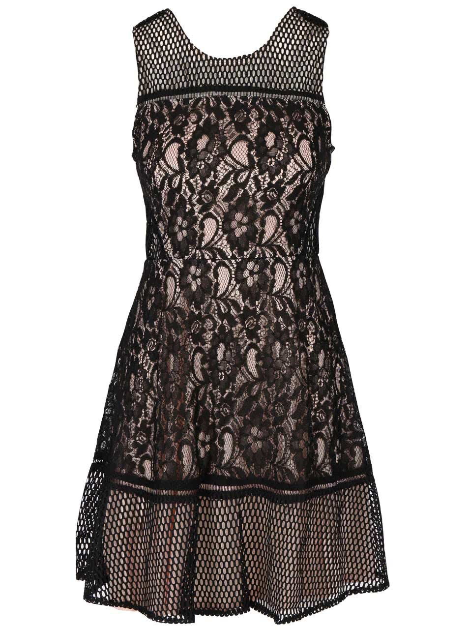 Béžovo-černé krajkové šaty AX Paris