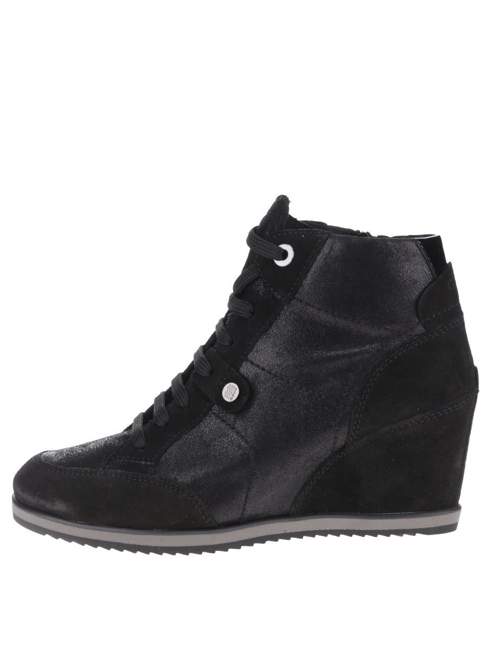Černé dámské semišové sneakers tenisky Geox Illusion A