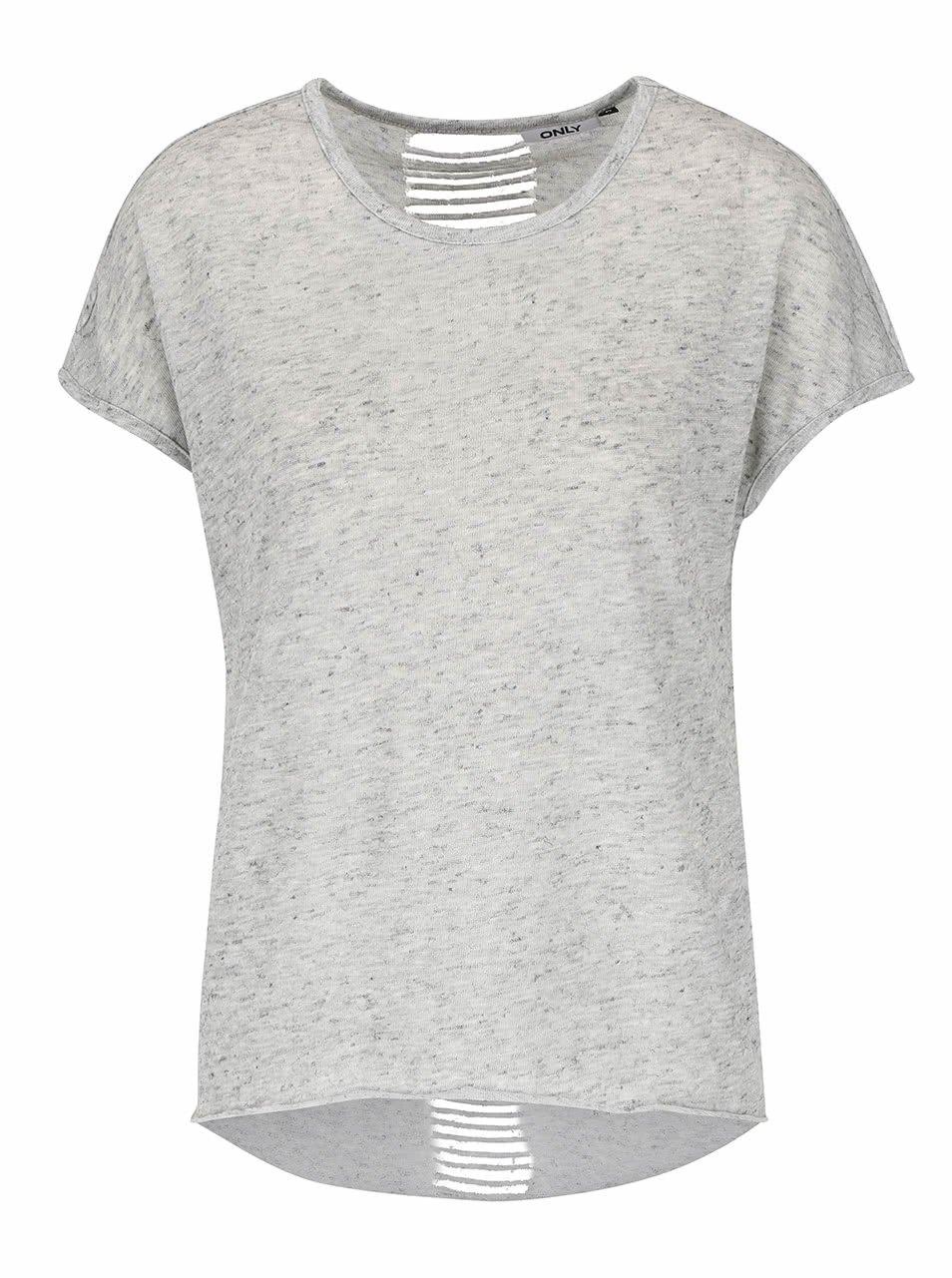 Šedé žíhané tričko s průstřihy na zádech ONLY Kikki