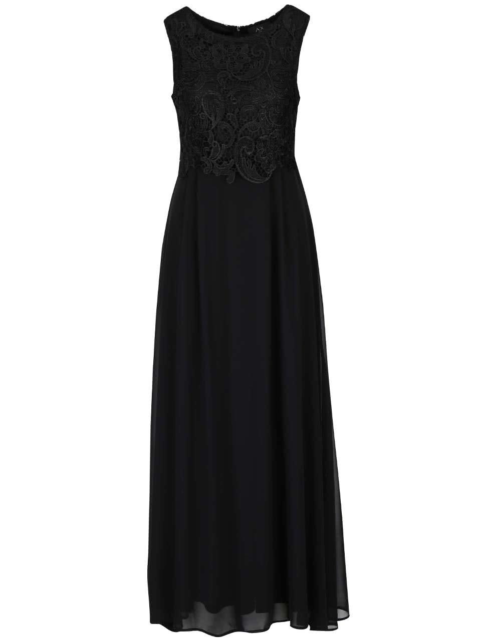 Černé dlouhé šaty s krajkou AX Paris