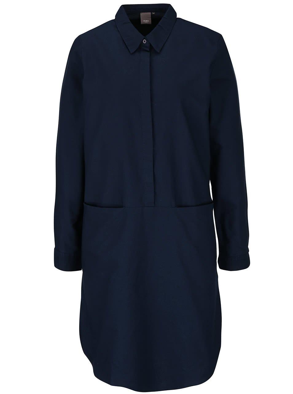 Tmavě modré šaty ICHI Avilda
