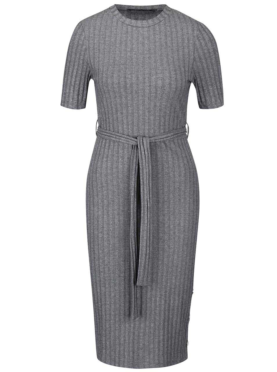 Šedé žebrované šaty s páskem Dorothy Perkins