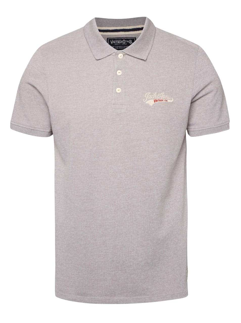 Světle šedé žíhané polo triko Jack & Jones Sport