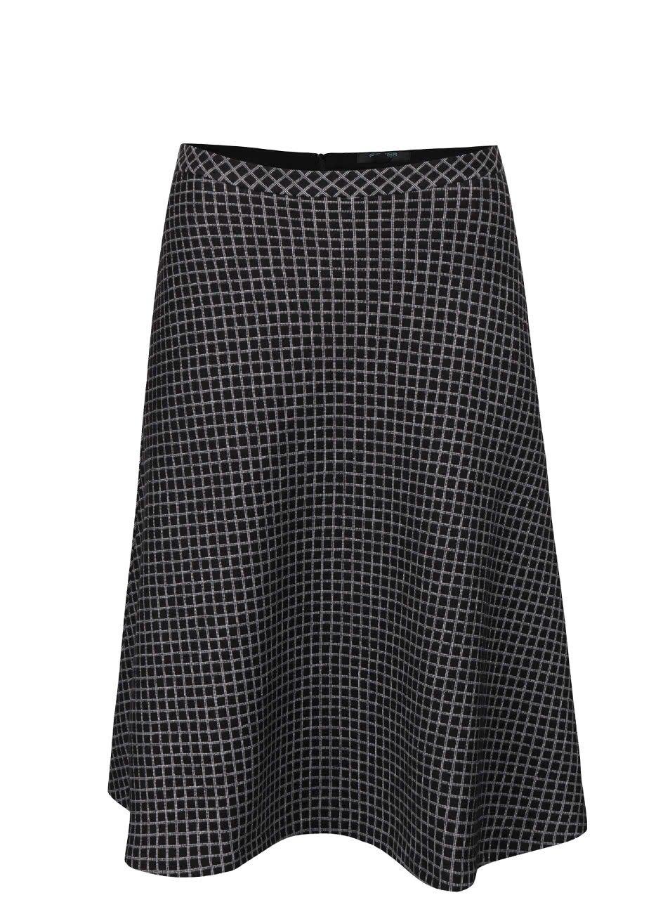 Černá áčková kostkovaná sukně Fever London Lori
