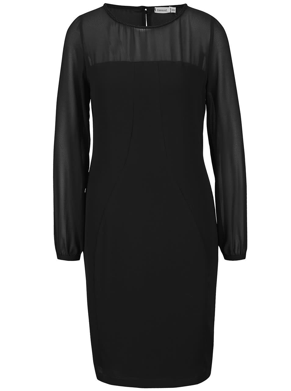 Černé šaty s průhlednými rukávy a dekoltem Lavand