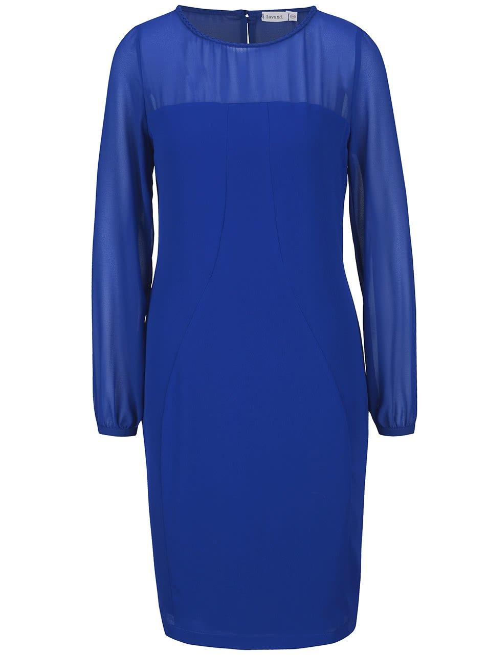 Modré šaty s průhlednými rukávy a dekoltem Lavand