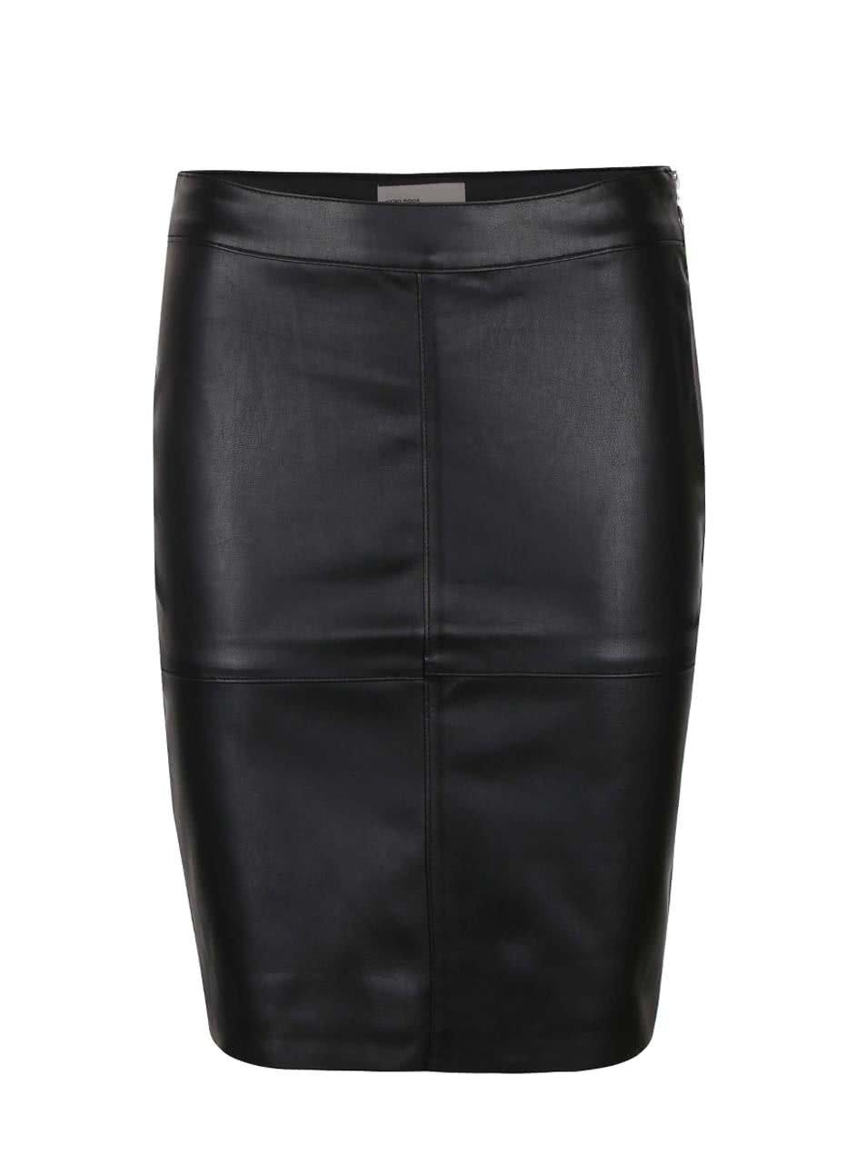 Černá koženková sukně Vero Moda Clara