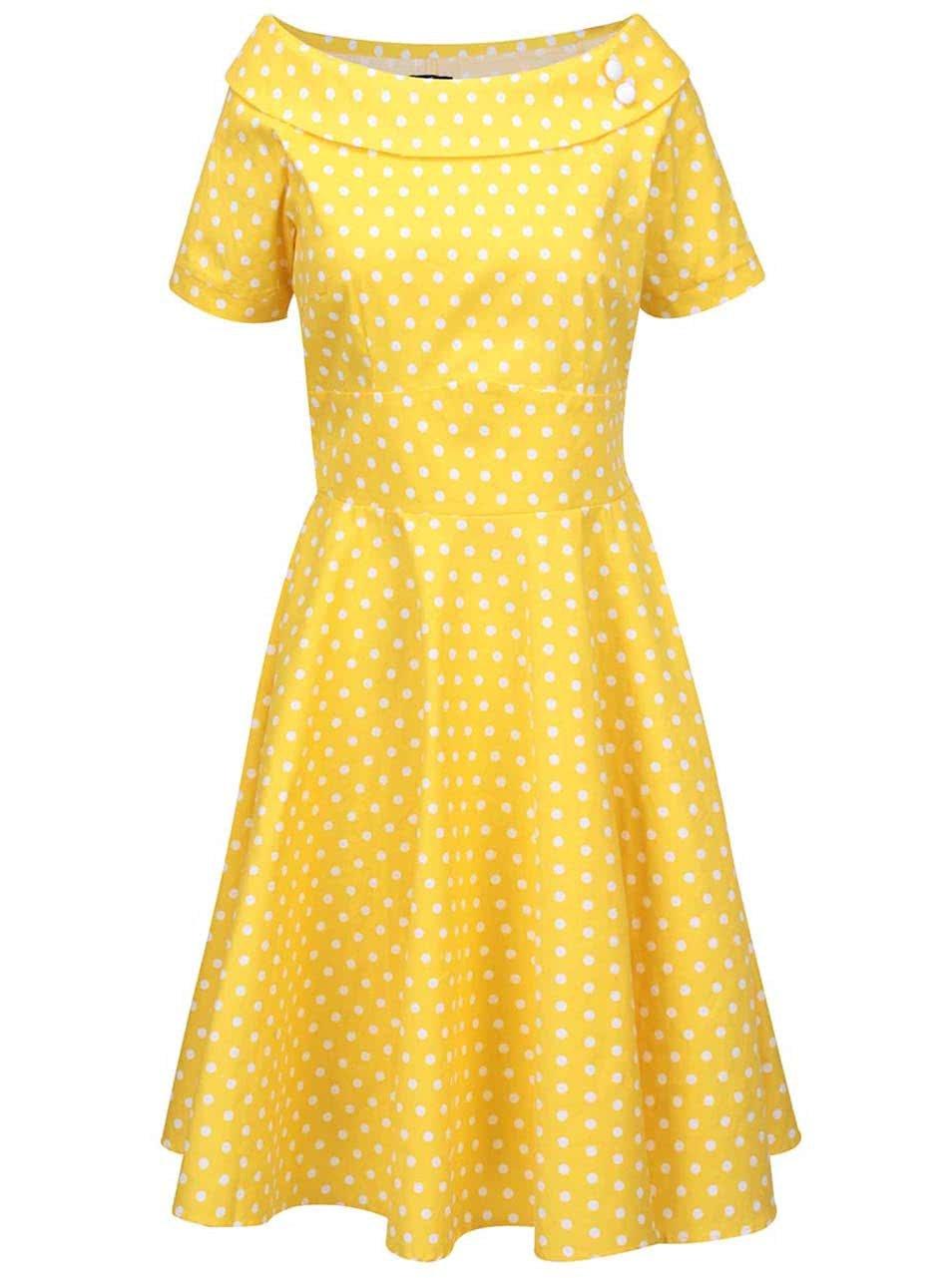 Žluté puntíkované šaty s lodičkovým výstřihem Dolly & Dotty Darlene