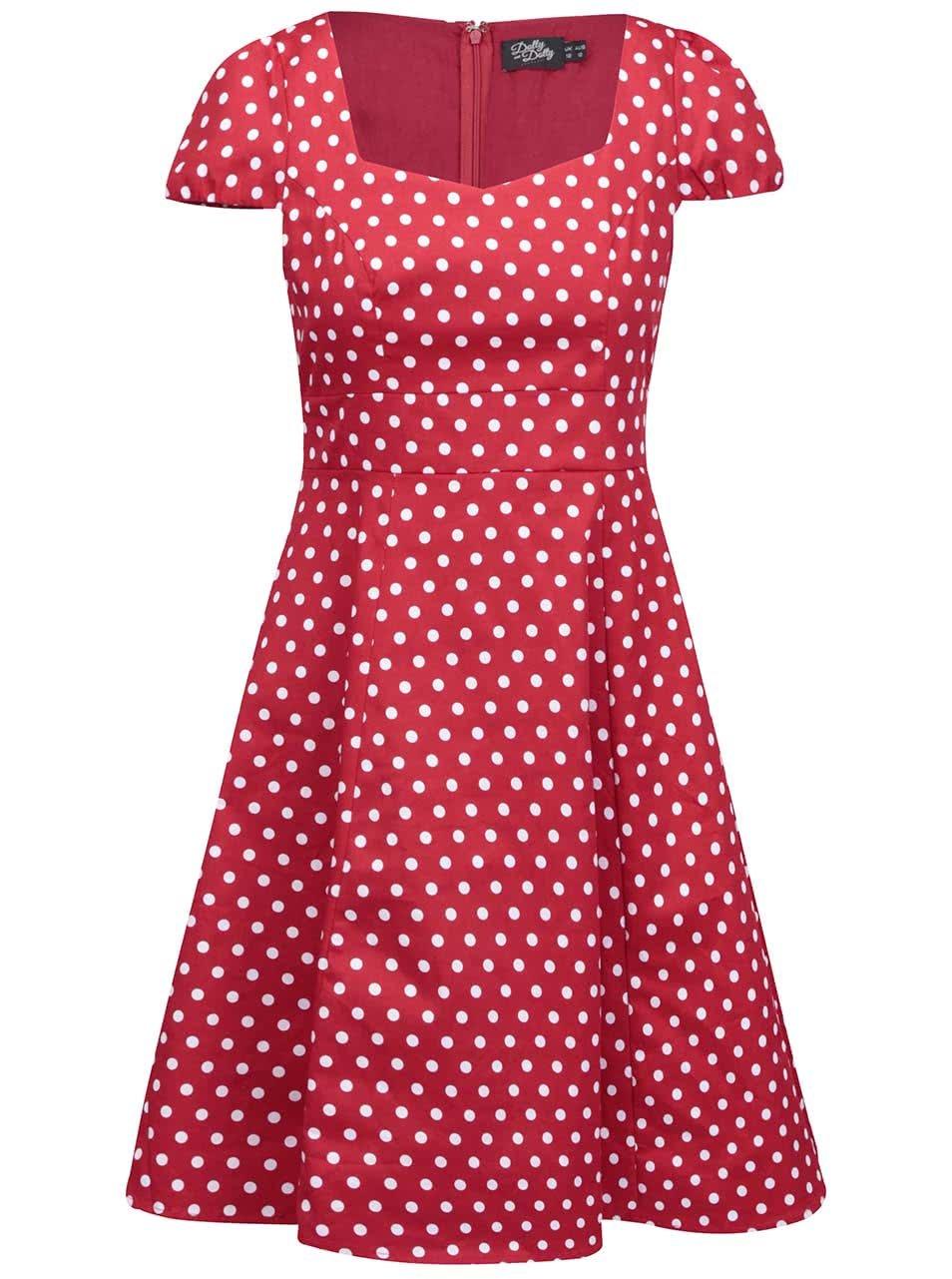 Červené puntíkované šaty s krátkými rukávy Dolly & Dotty Claudia