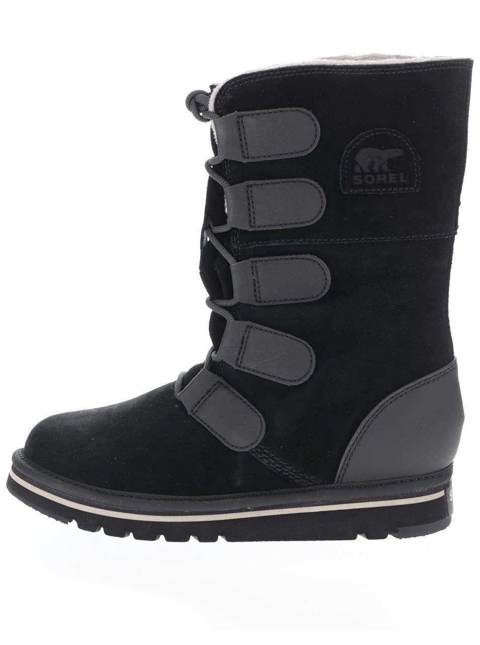 Černé kožené zimní boty s vázáním SOREL Newbie Lace