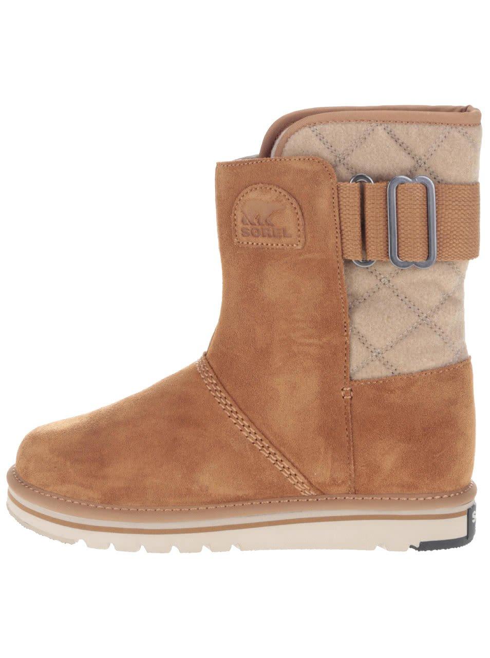 Světle hnědé kožené voděodolné zimní boty SOREL Newbie