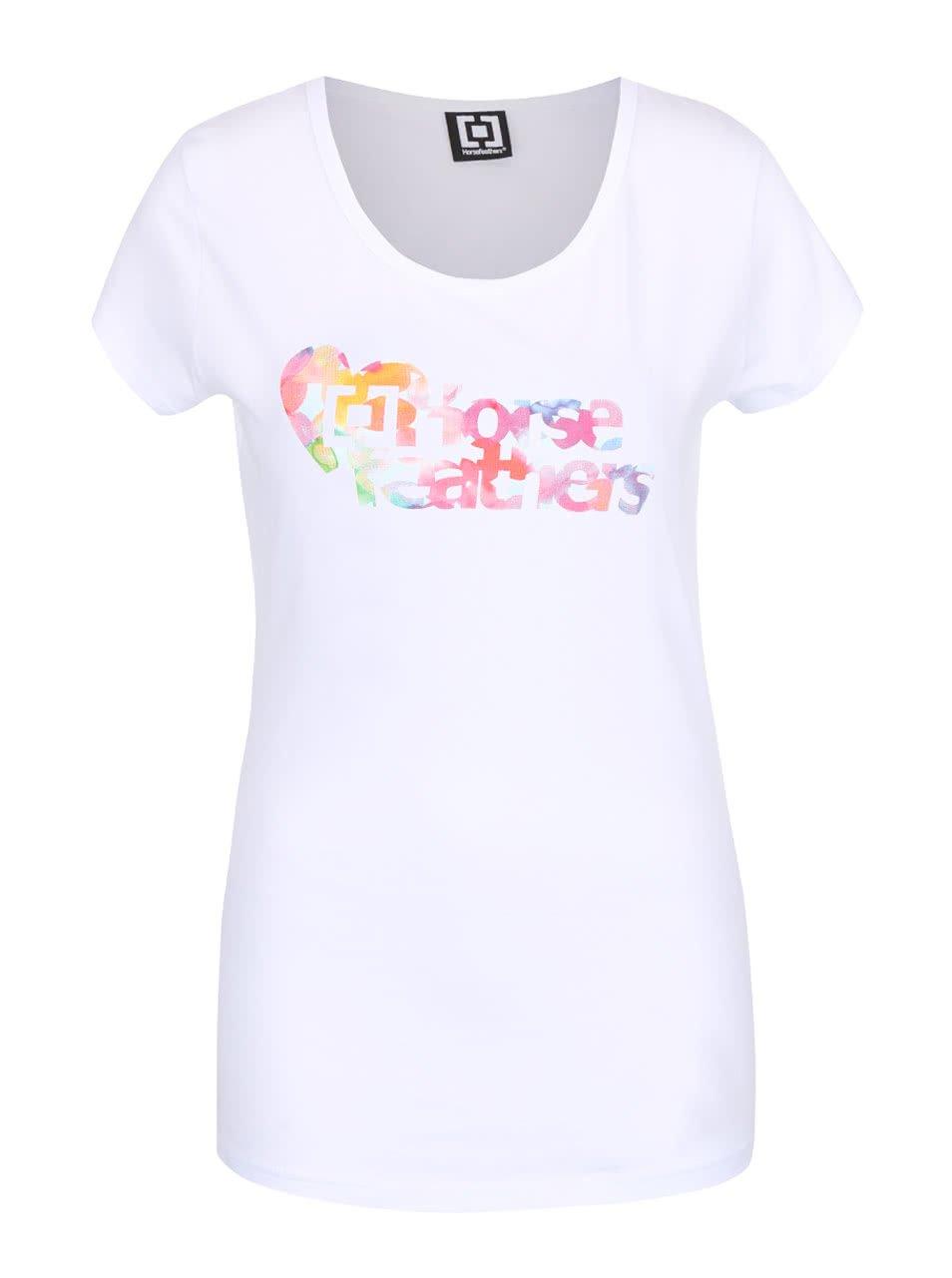 Bílé dámské tričko s barevným nápisem Horsefeathers Piece