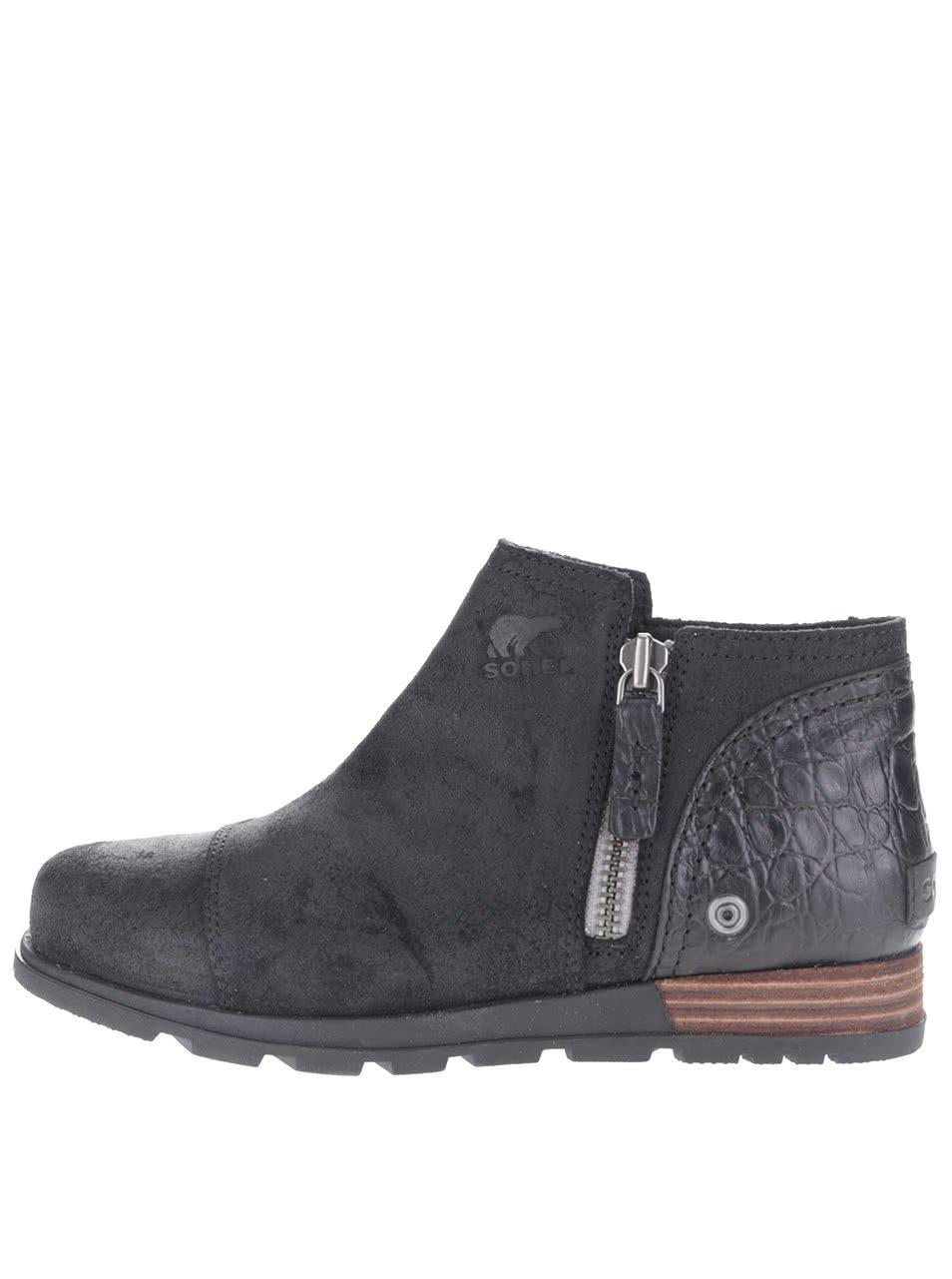 Černé dámské kožené kotníkové boty SOREL Major Low