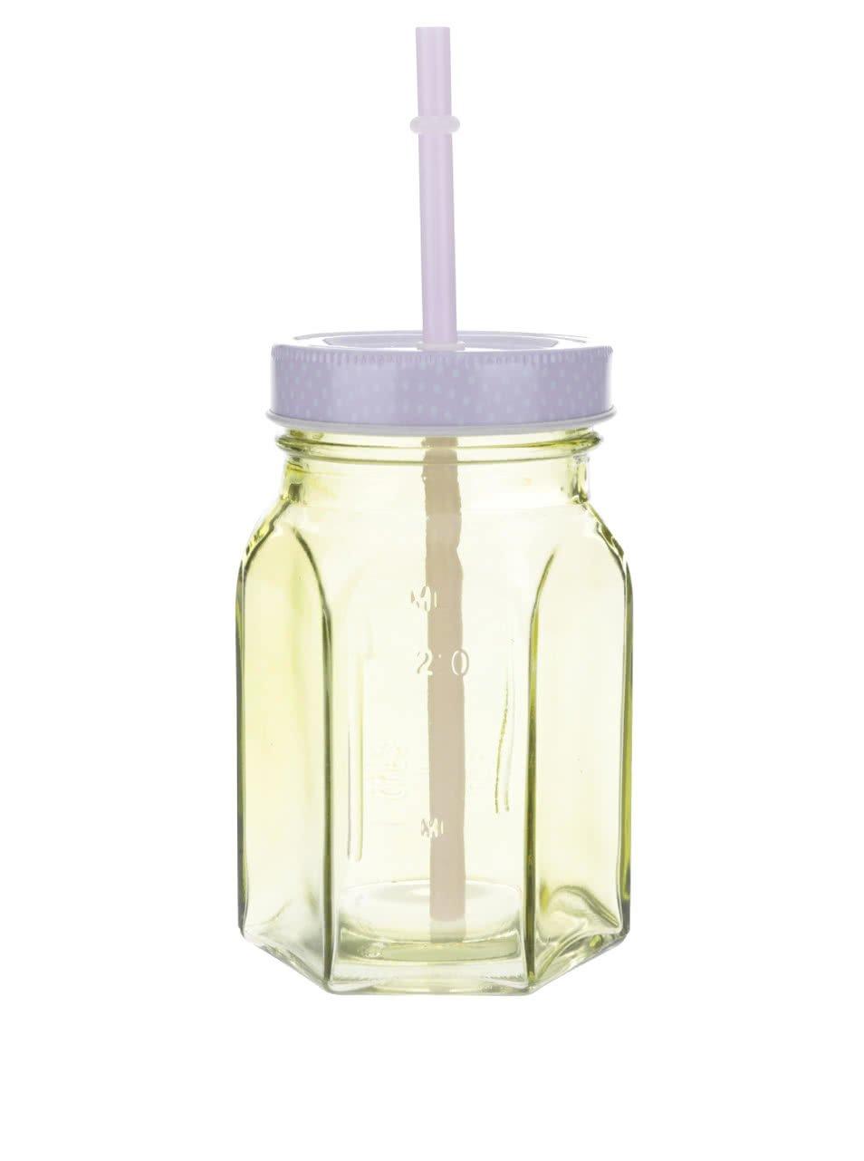 Žlutá uzavíratelná sklenice s brčkem Kitchen Craft
