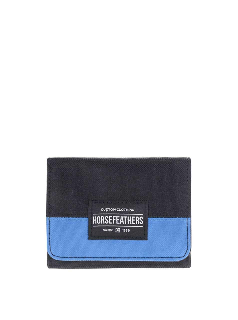 Černá pánská peněženka s modrým pruhem Horsefeathers Waller