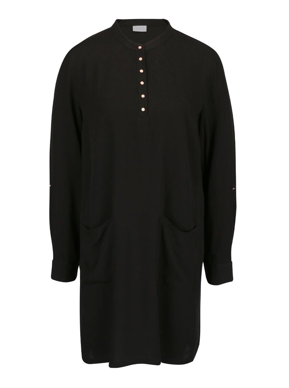 Černé šaty s kapsami a dlouhým rukávem VILA Button