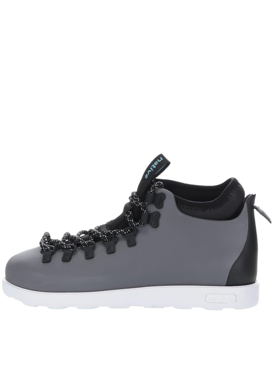 Šedé pánské kotníkové boty s vsadkou Fitzsimmons block Native