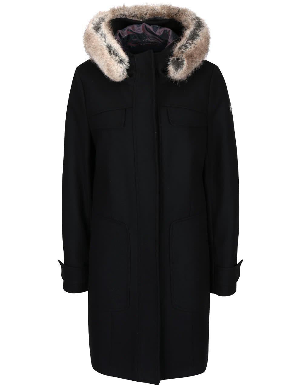 Černý dámský vlnený kabát s kapucí bugatti