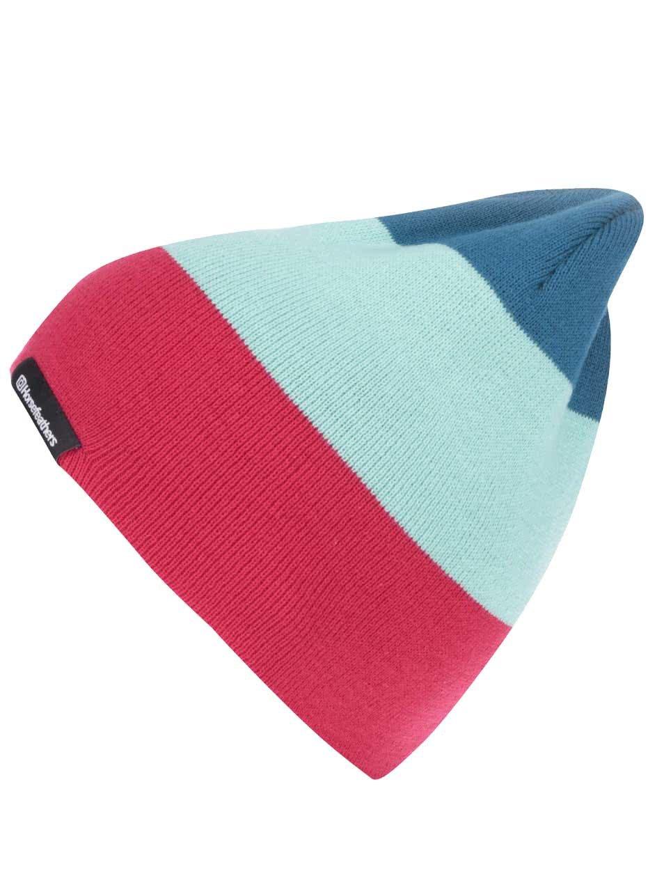 Růžovo-zelená dámská pruhovaná čepice Horsefeathers Flo