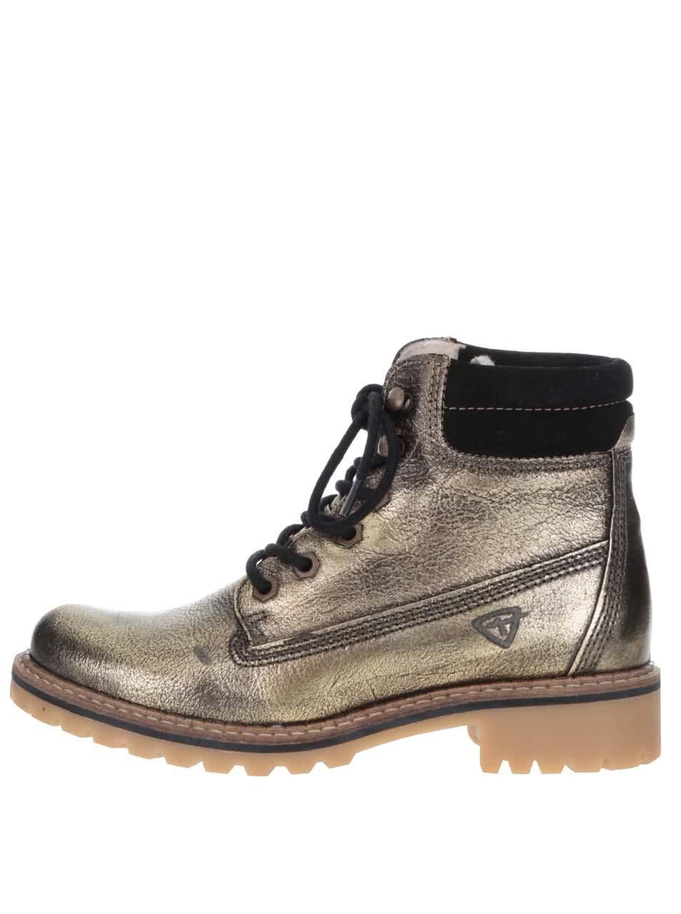Zelené kožené metalické boty Tamaris
