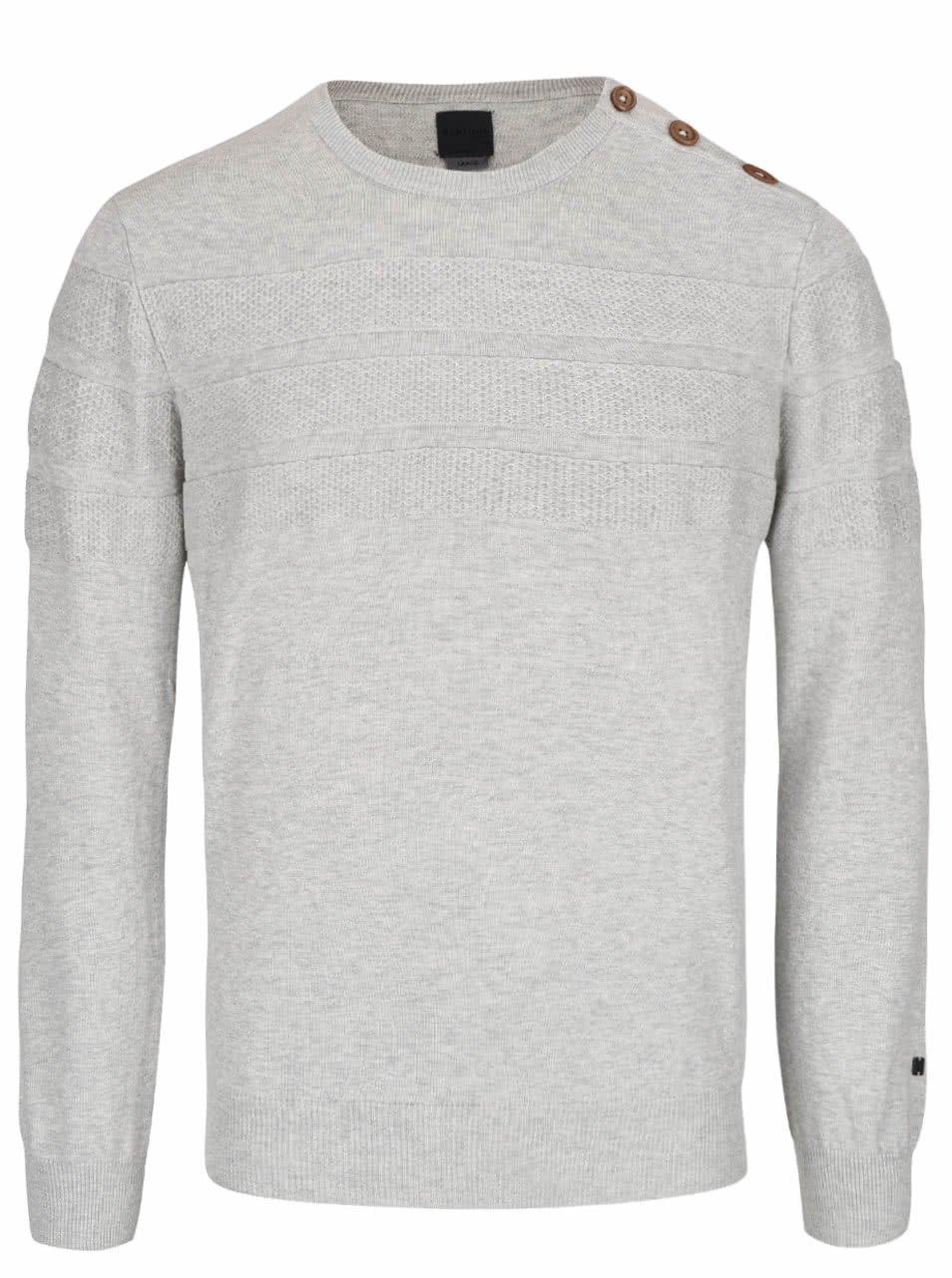 Světle šedý svetr s knoflíky na rameni Bertoni Esben