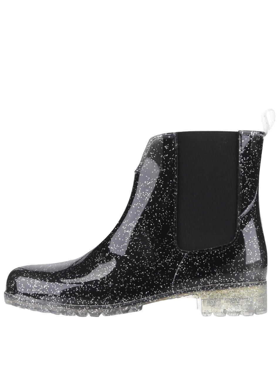 Černé trpytivé gumové chelsea boty Tamaris