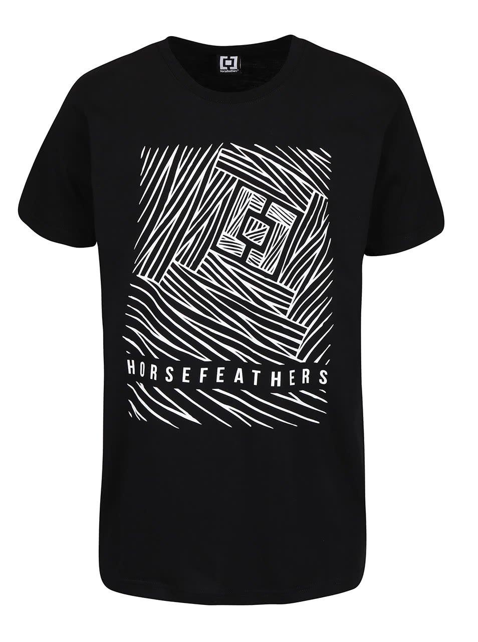 Černé pánské triko s potiskem Horsefeathers Circuit