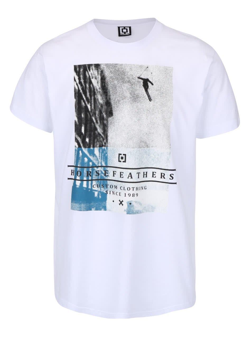 Bílé pánské triko s potiskem Horsefeathers Fearless