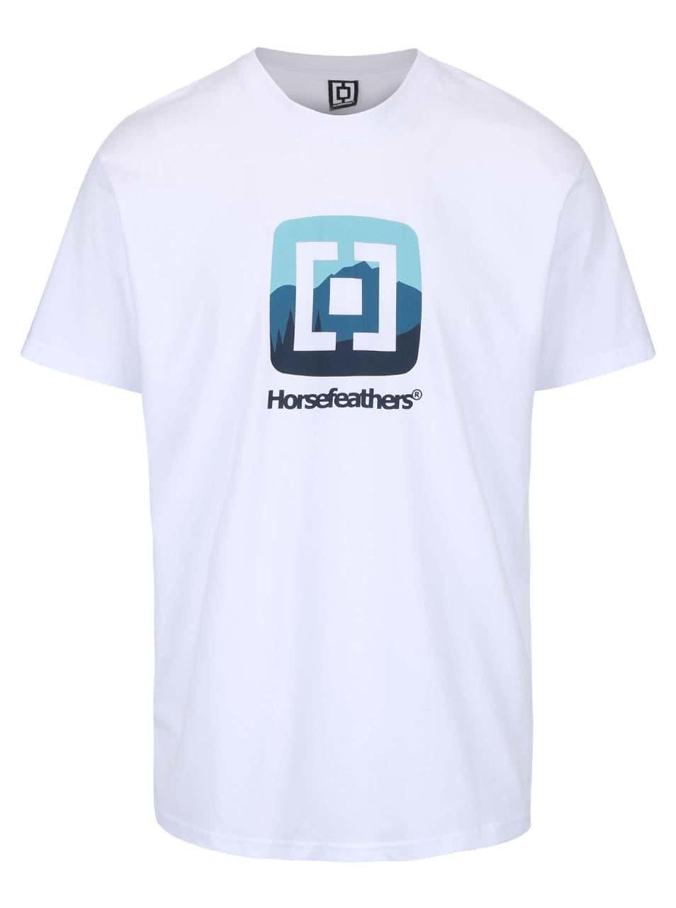 Bílé pánské triko s potiskem Horsefeathers Resort