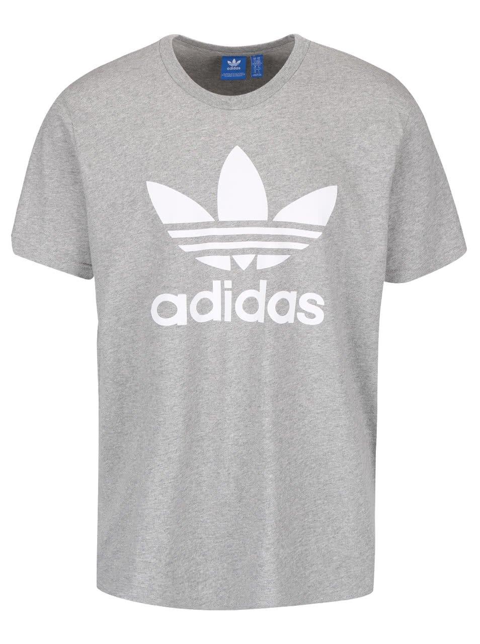 Šedé pánské triko s potiskem adidas Originals
