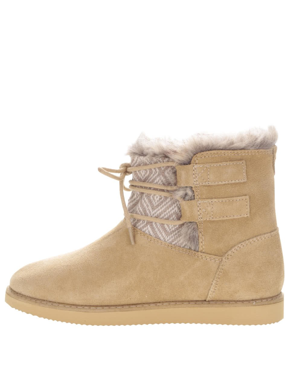 Hnědé semišové zimní boty se šněrováním Roxy Tara