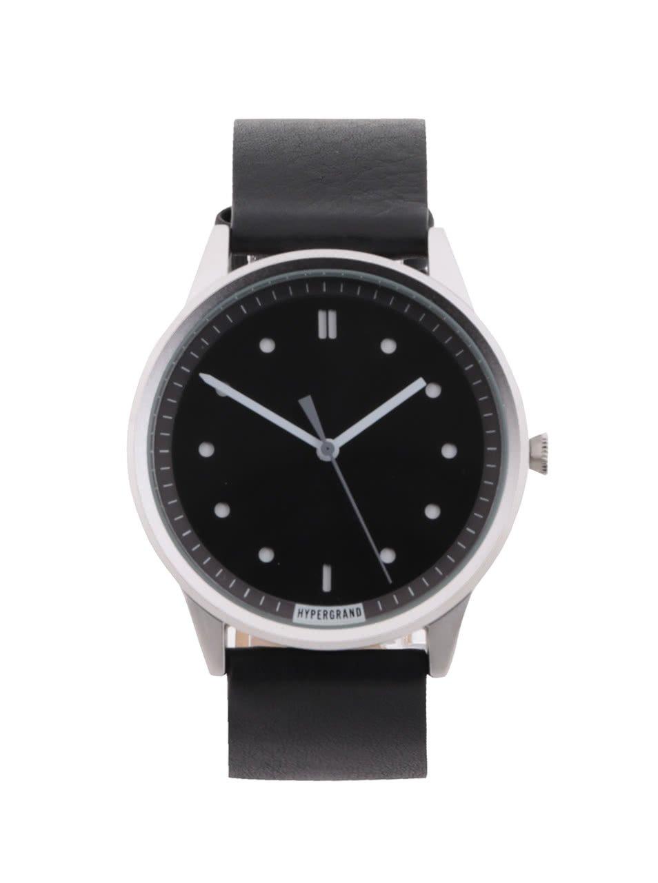 Pánské hodinky ve stříbrné barvě s černým koženým páskem HYPERGRAND