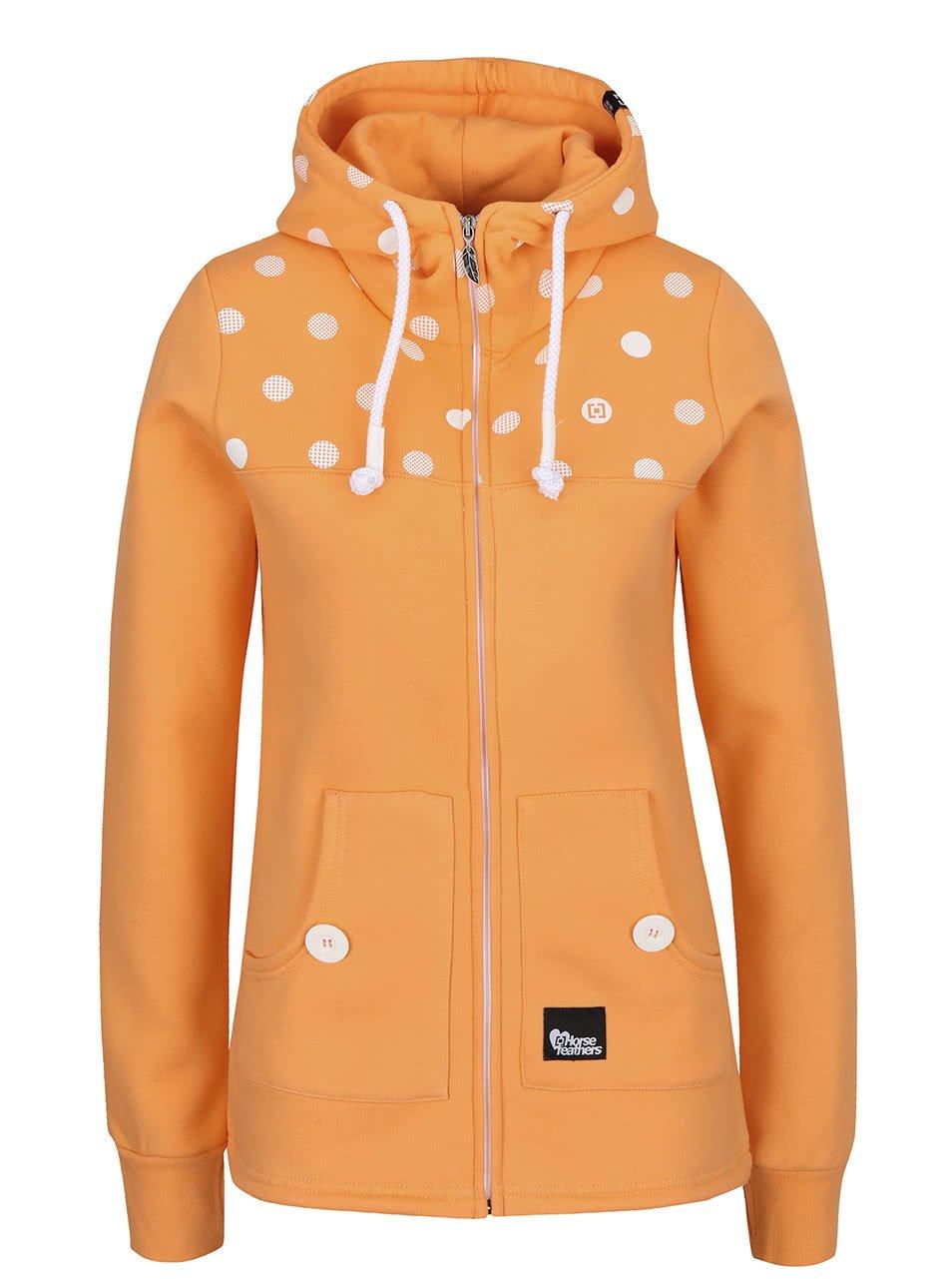Oranžová dámská mikina na zip s puntíky Horsefeathers Ariane