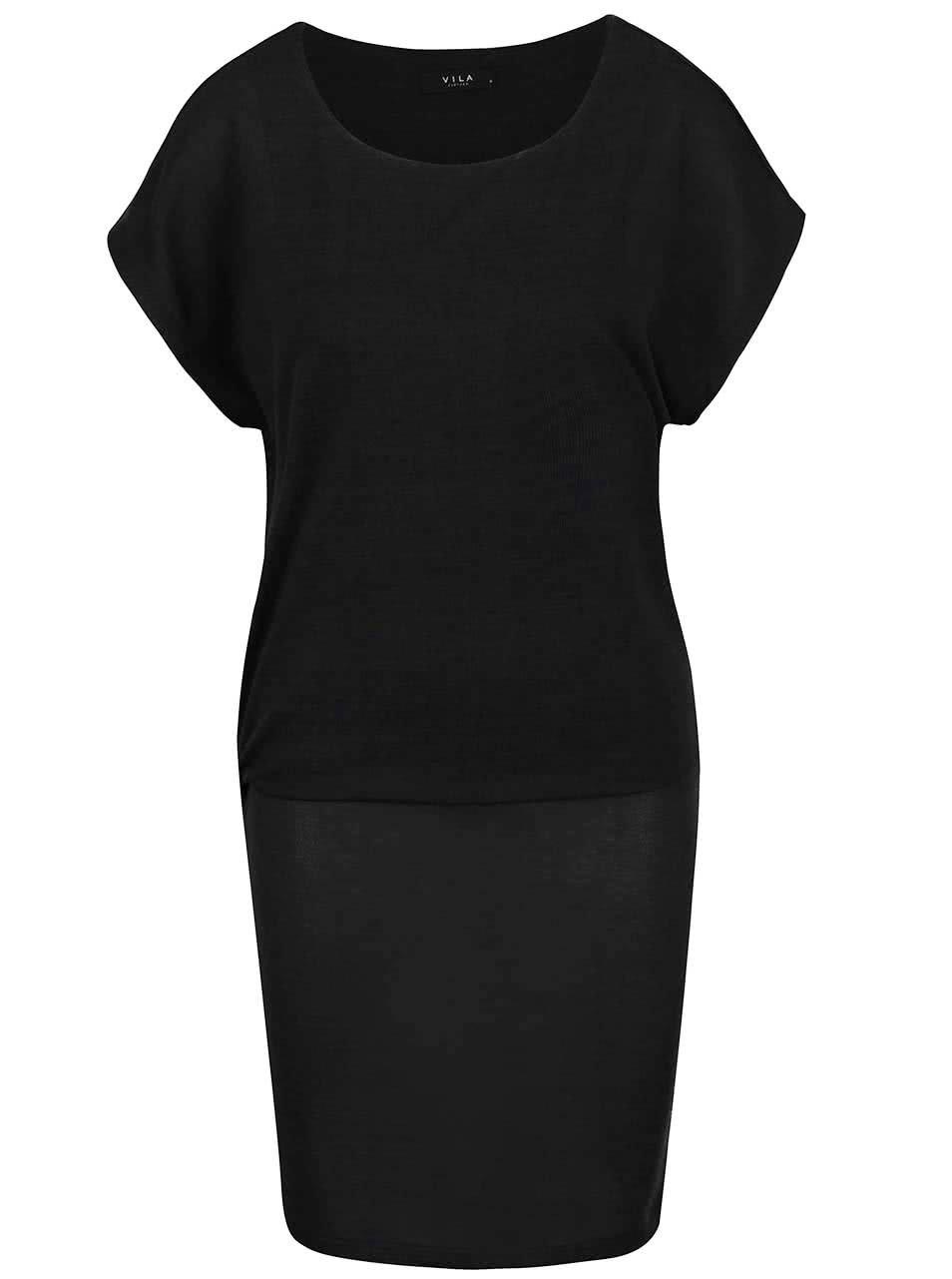 Tmavě šedé elastické šaty s volnějším topem VILA Sissa