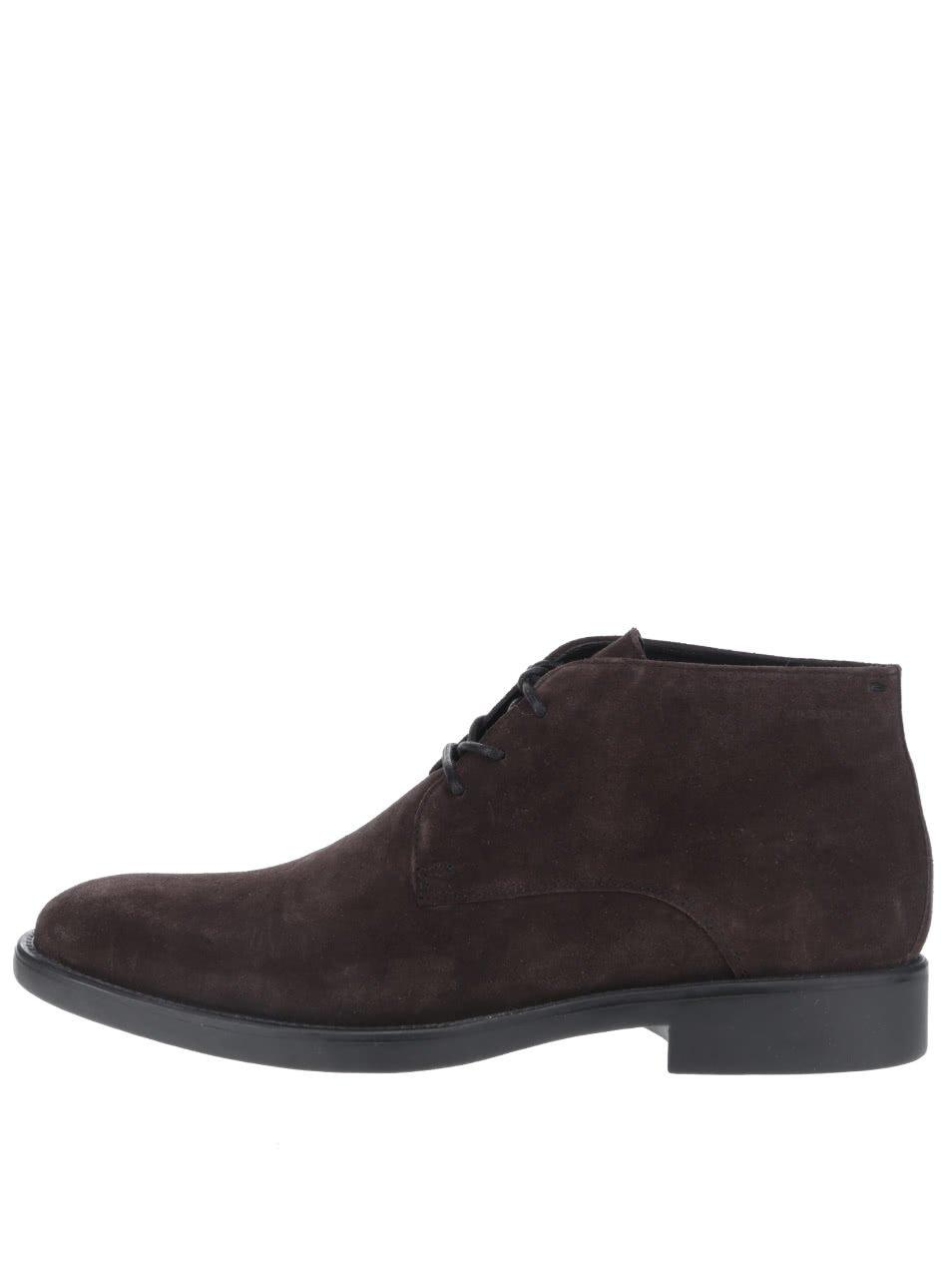 Tmavě hnědé pánské semišové kotníkové boty Vagabond Noel