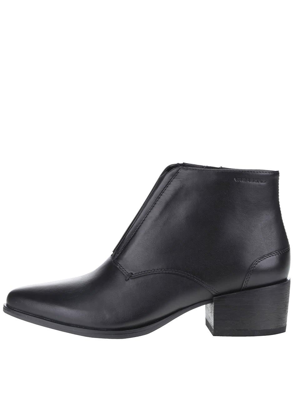 Černé dámské kožené kotníkové boty s gumovou vsadkou Vagabond Marja