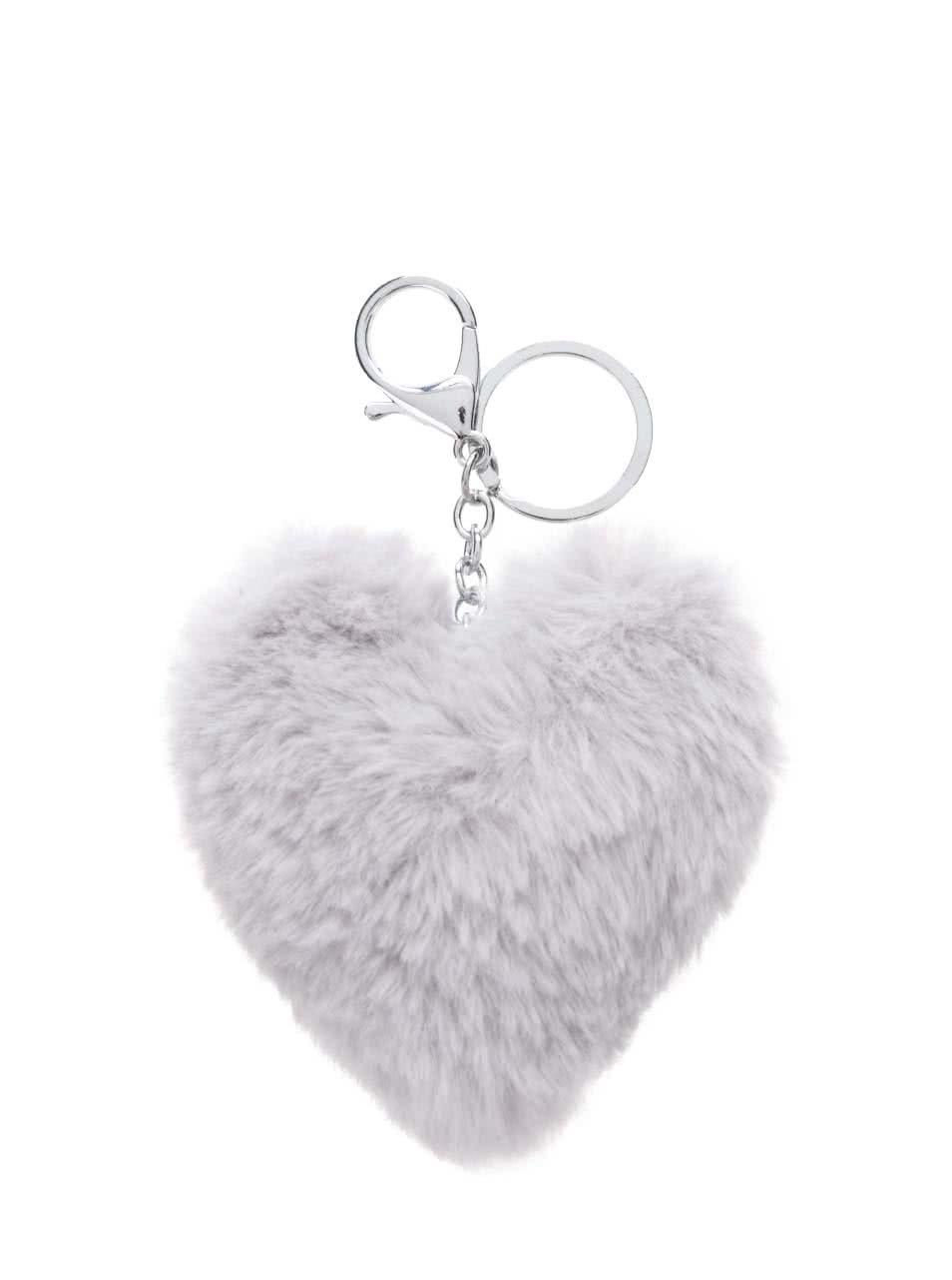 Šedý přívěšek ve tvaru srdce Haily's Pompom